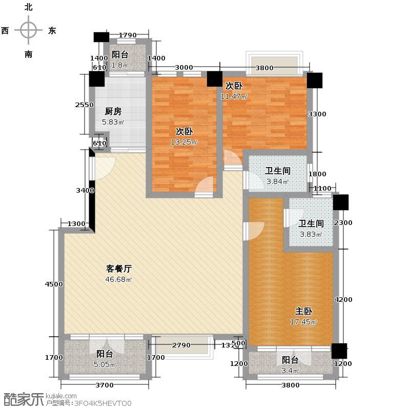 联发滨海琴墅142.00㎡洋房A三层平面布置图户型3室2厅2卫