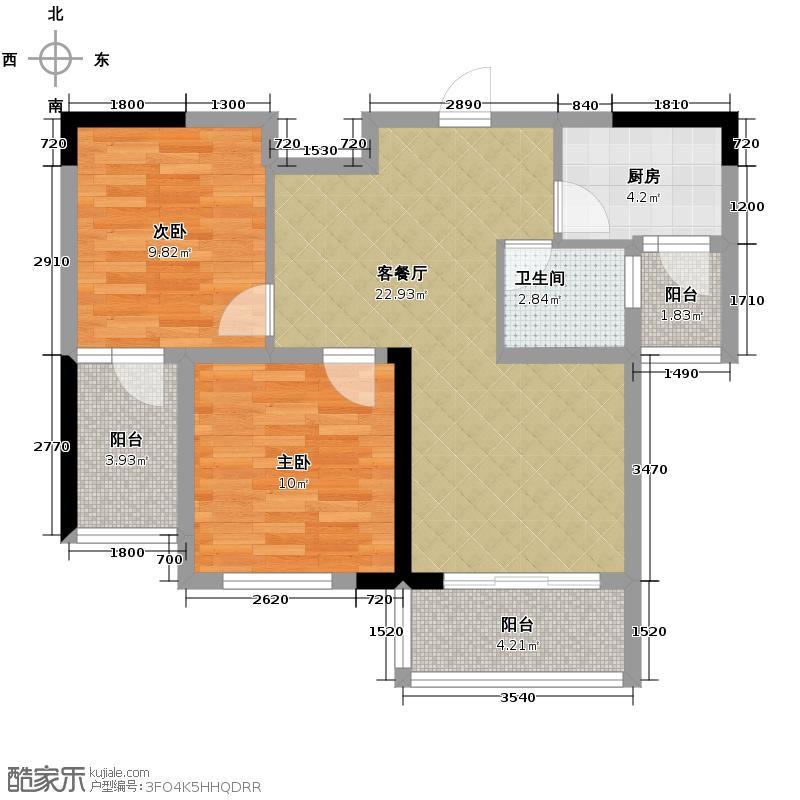 芸峰天梭派63.44㎡7号楼B5栋标准层8号房户型2室1厅1卫1厨