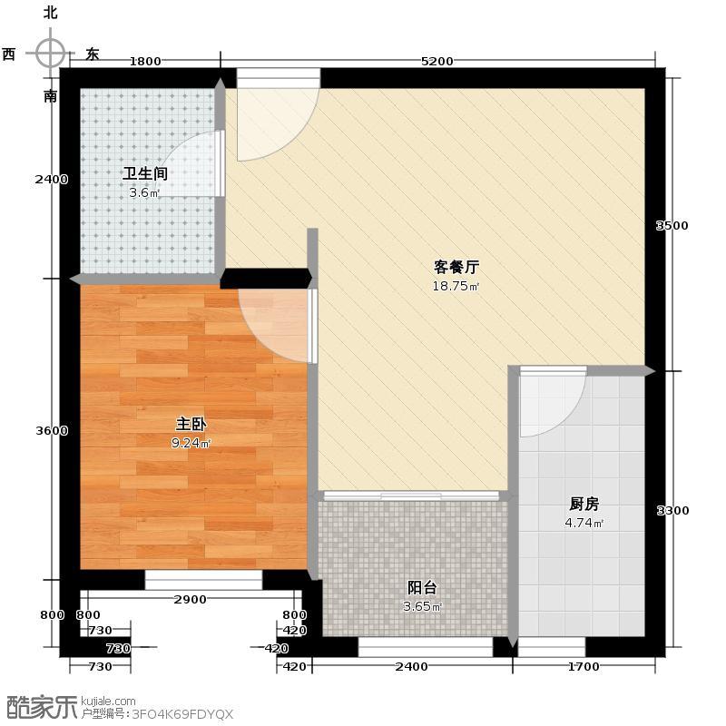 六湾45.28㎡H户型1室1厅1卫1厨