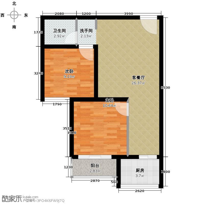 东方锦绣城64.01㎡B2户型2室2厅1卫