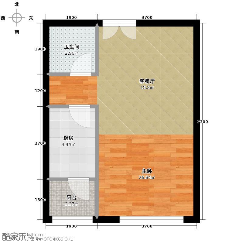 江南山水51.66㎡A3-F户型1室1厅1卫