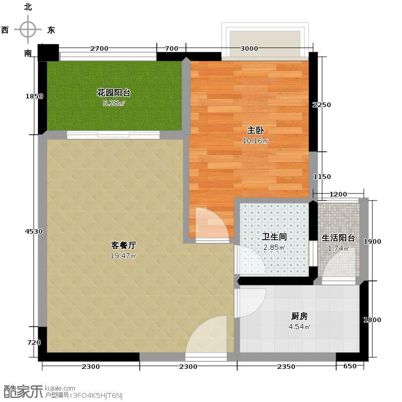 东原D7区45.73㎡一期1号楼标准A户型1室1厅1卫