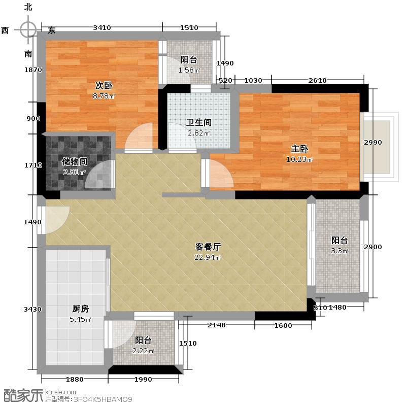 金茂珑悦70.51㎡15号楼4/5号房单卫三阳台户型2室2厅1卫