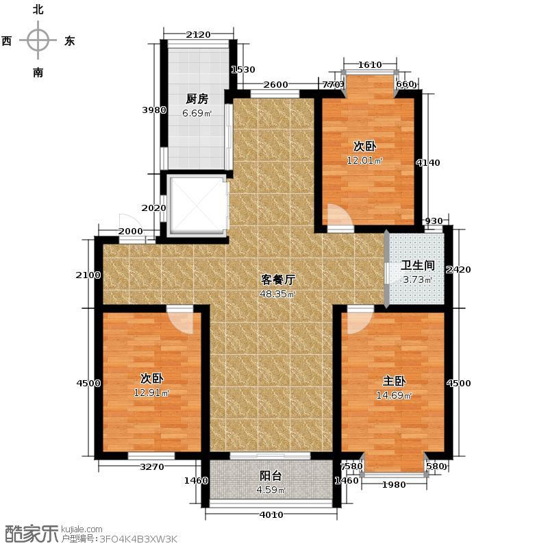 阳光水岸花园136.23㎡户型3室1厅1卫1厨