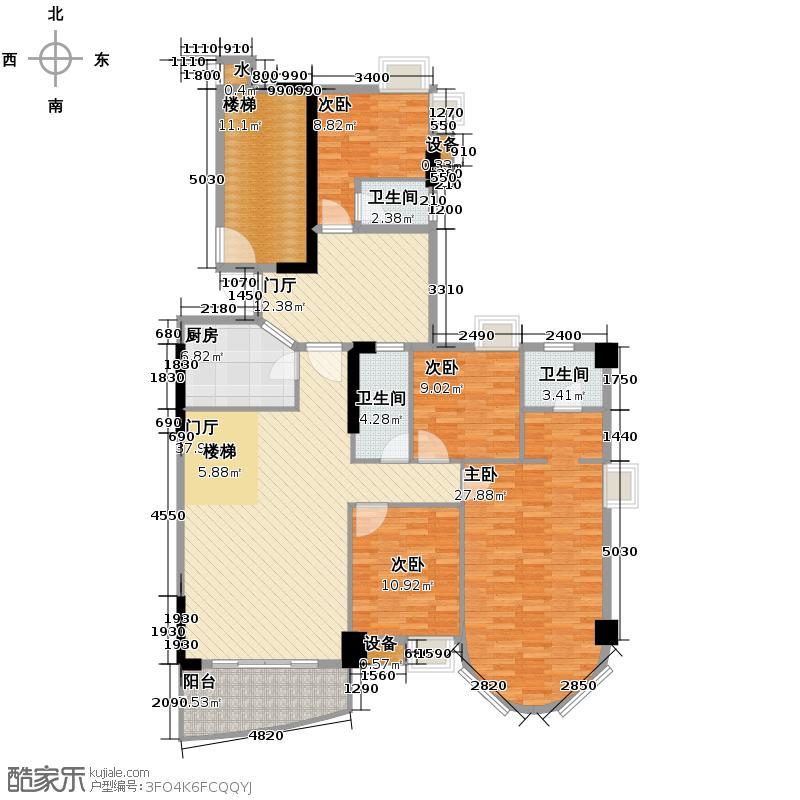 世博嘉园302.71㎡汇景轩1座17层02复式单位户型10室