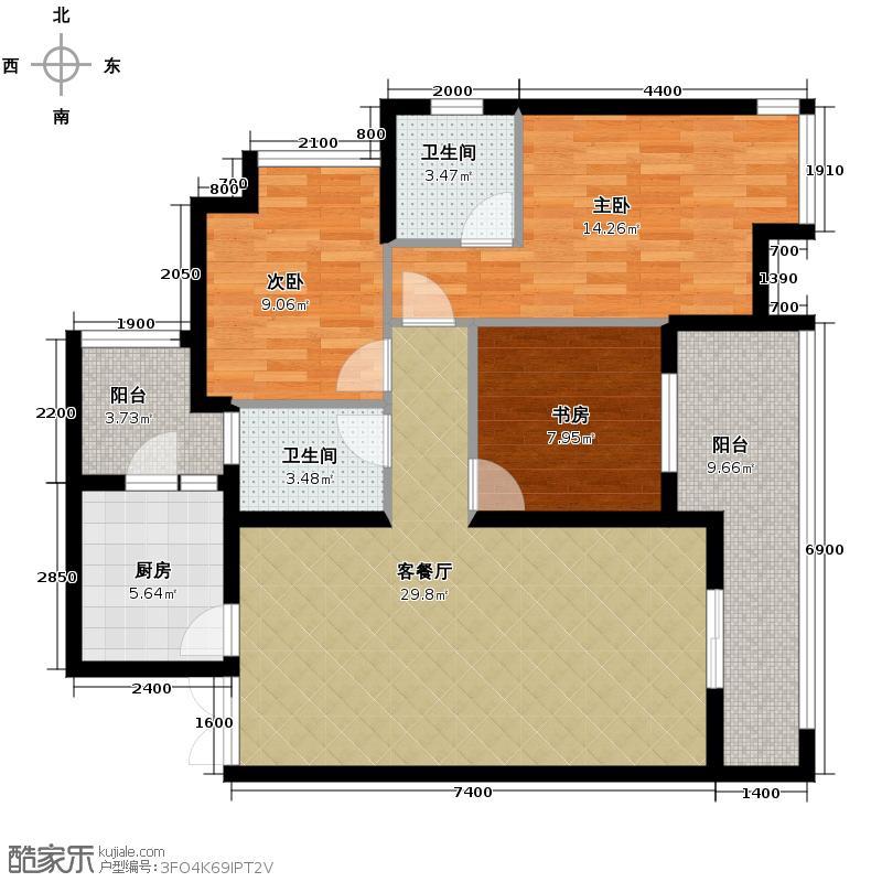 华润中央公园88.00㎡2号楼4号双卫户型3室2厅2卫
