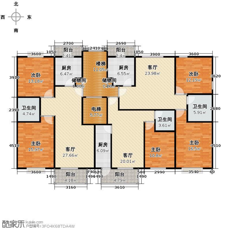 一品嘉园221.41㎡A3N平面图户型10室