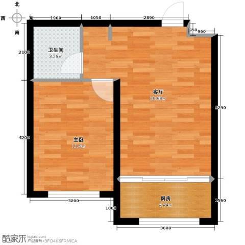 东田青年城1室1厅1卫0厨51.00㎡户型图