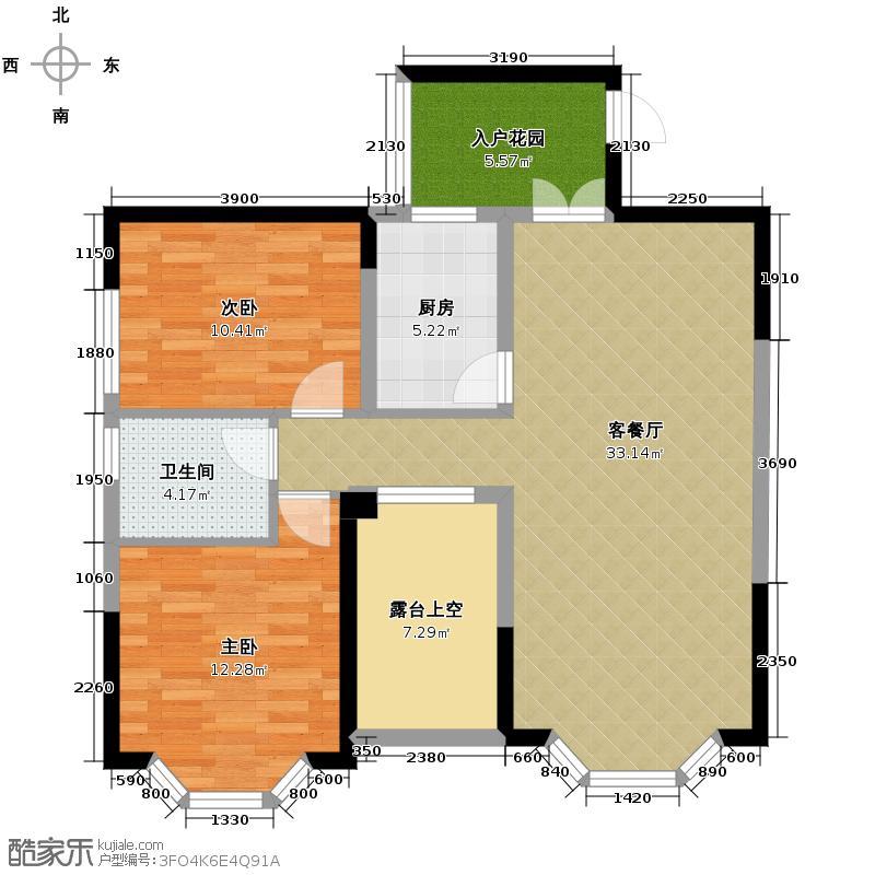 润扬双河鹭岛88.90㎡33-B-1户型2室2厅1卫