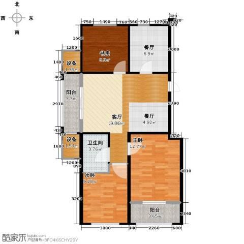 巴黎梦夏3室2厅1卫0厨86.00㎡户型图