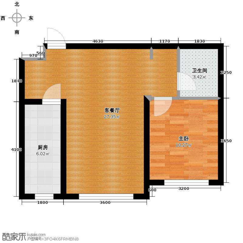 东田青年城60.00㎡二期B户型1室2厅1卫