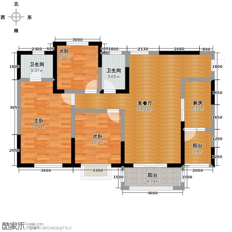 蓝光四叶城115.00㎡B2型户型3室1厅2卫1厨