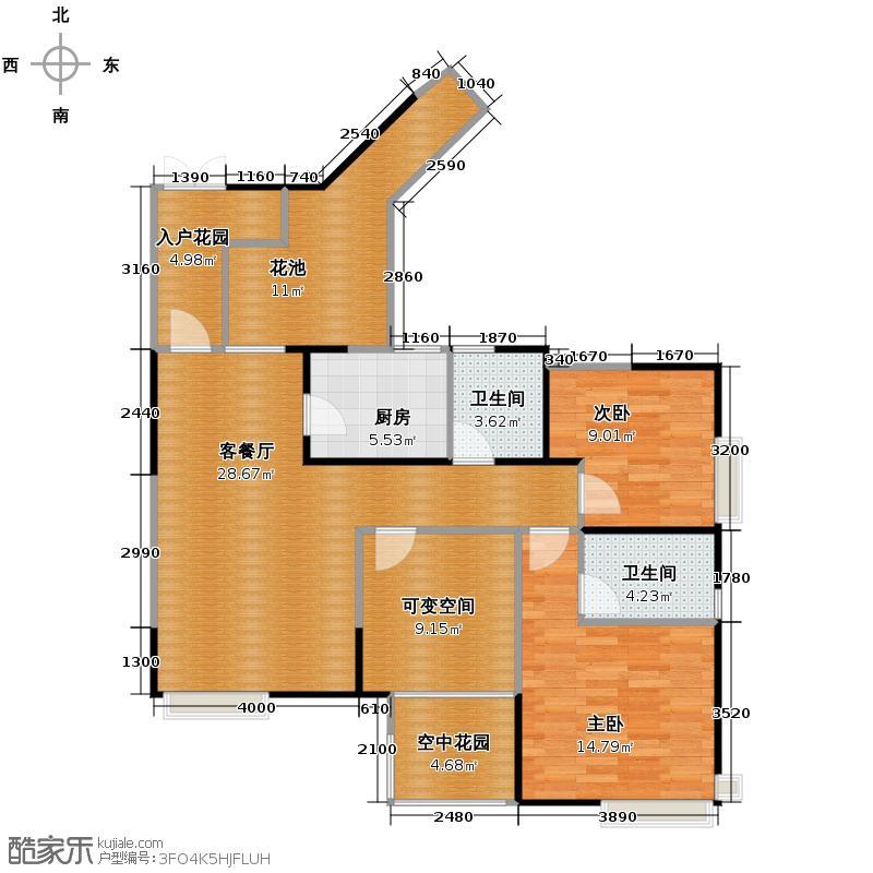 比华利国际城103.89㎡2011年1月在售-2期G-1(偶数层)-户型2室1厅2卫1厨