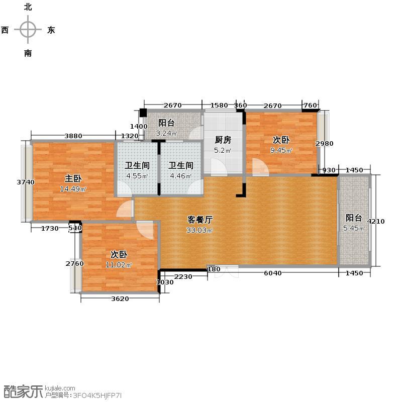 北麓国际城88.76㎡7+1洋房E-6双卫户型3室2厅2卫