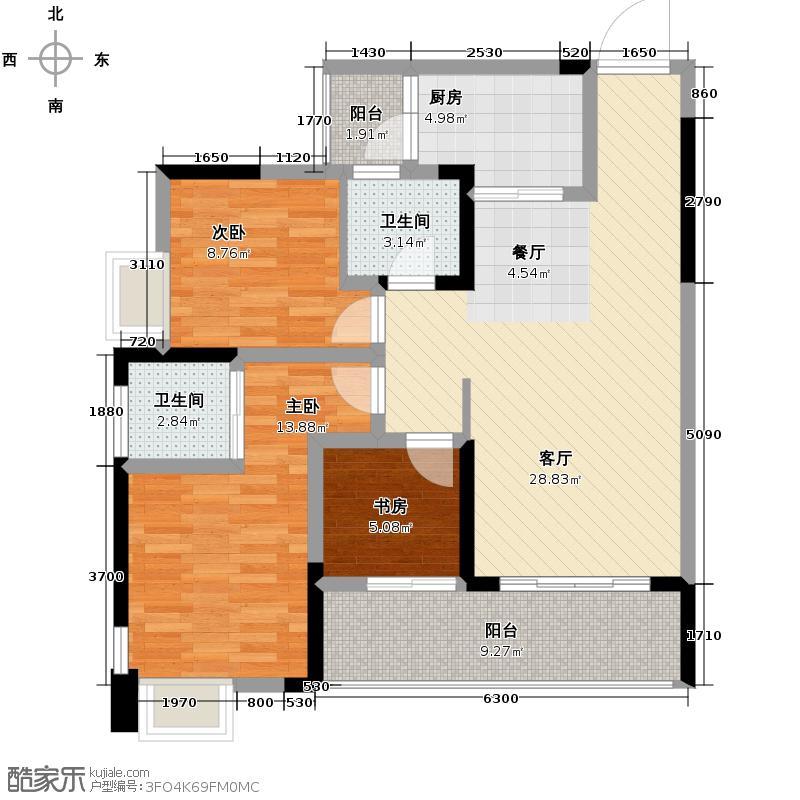 华美时代城83.92㎡D户型3室2厅2卫