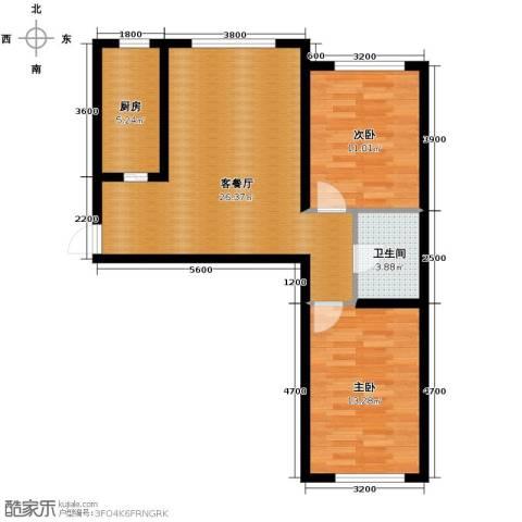 东田青年城2室2厅1卫0厨75.00㎡户型图