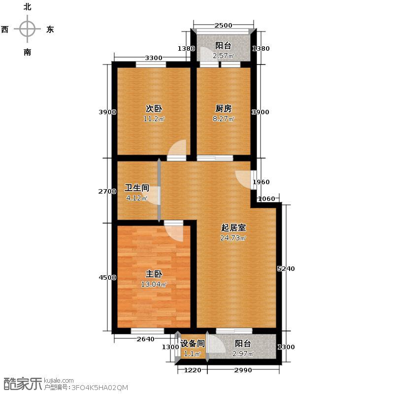 恒益隆庭106.03㎡1号楼标准层G2户型2室2厅1卫