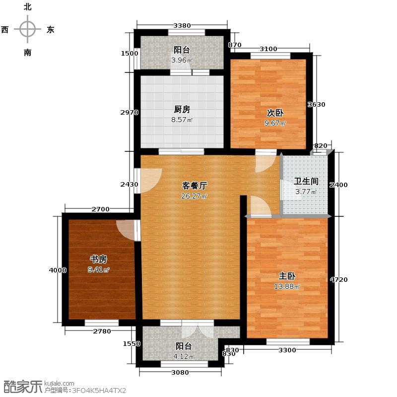 宝境栖园104.00㎡B户型3室2厅1卫