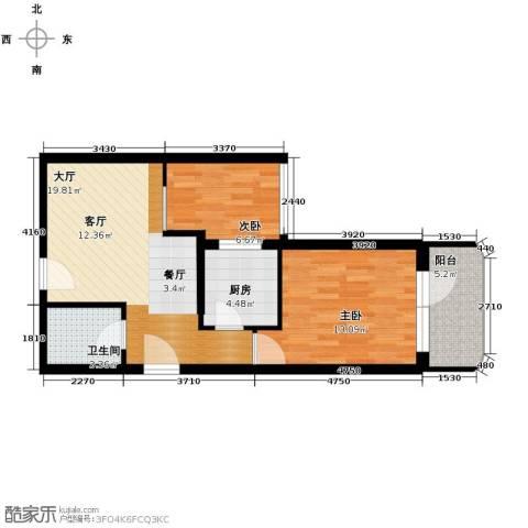 黄金SOHO2室0厅1卫1厨64.00㎡户型图