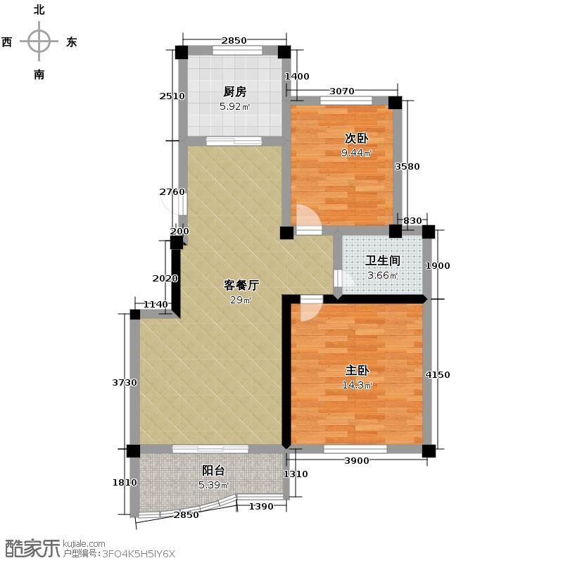 秀水佳园丽苑88.59㎡房型户型2室1厅1卫1厨
