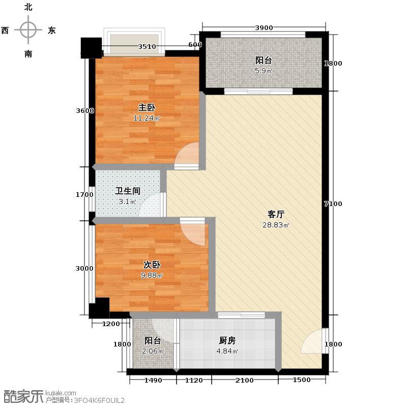 泰和欧城78.30㎡一期B户型2室2厅1卫