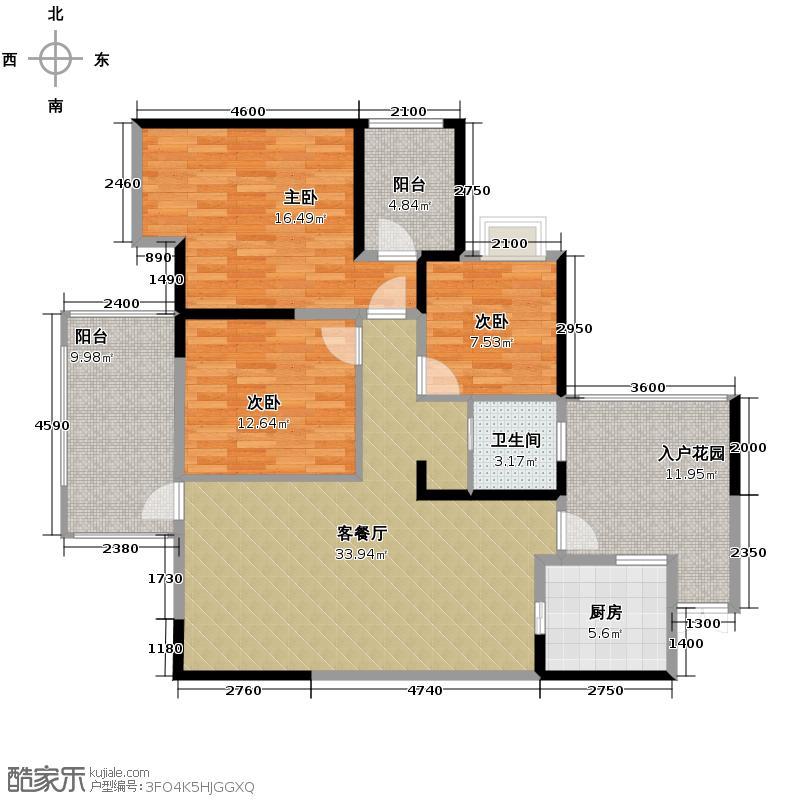 礼顿山1号117.02㎡A户型3室1厅1卫1厨