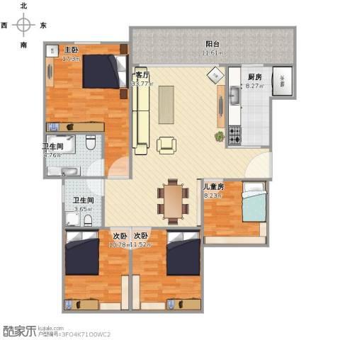昕晖香缇漫城4室1厅2卫1厨148.00㎡户型图