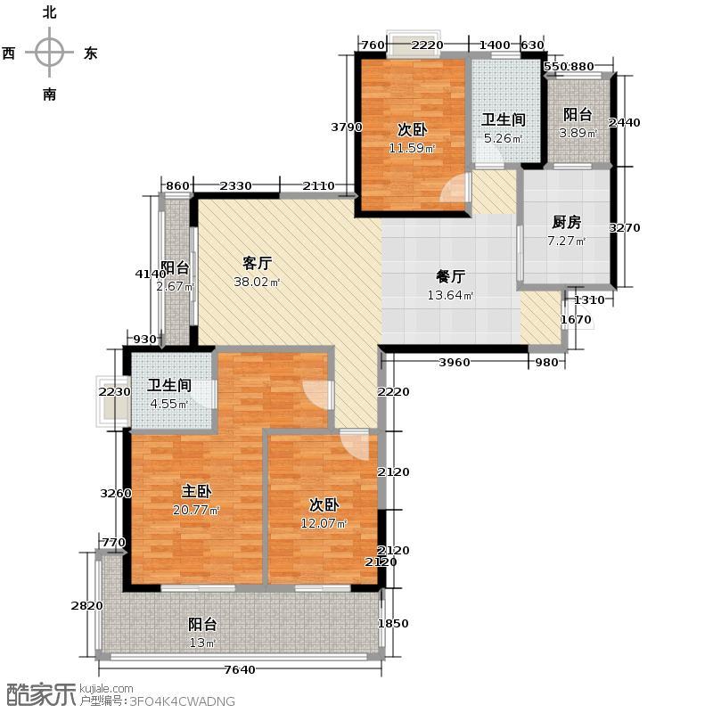 金域三江132.70㎡绿都户型3室1厅2卫1厨