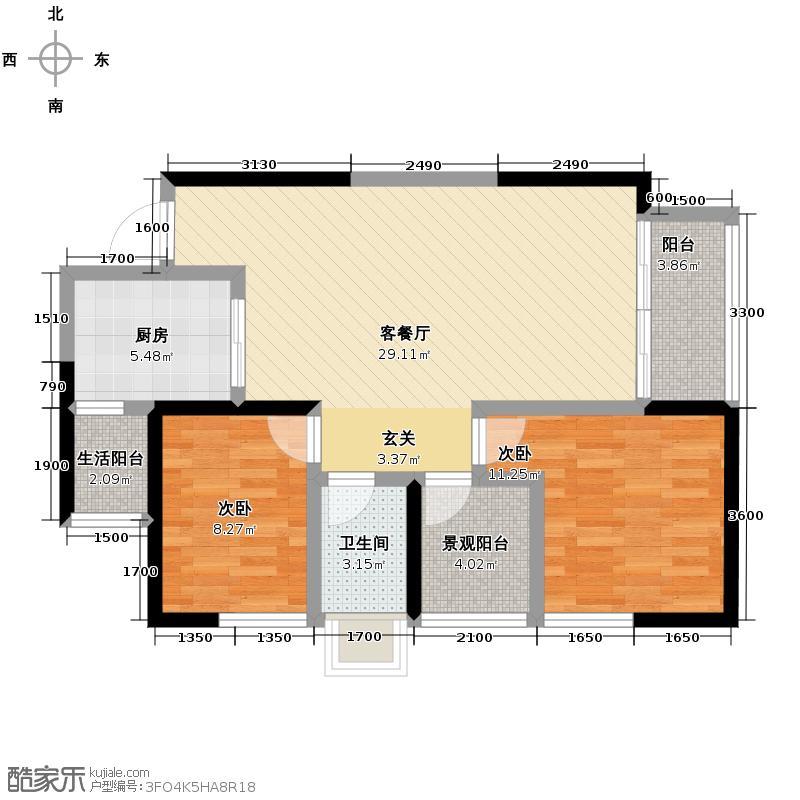 奥园金域80.00㎡3栋05/08+景观阳台(可变)户型2室1厅1卫1厨