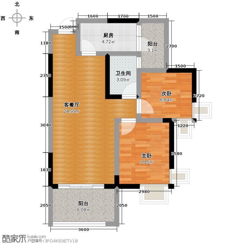 东原D7区62.64㎡3#4#5号楼F户型2室2厅1卫