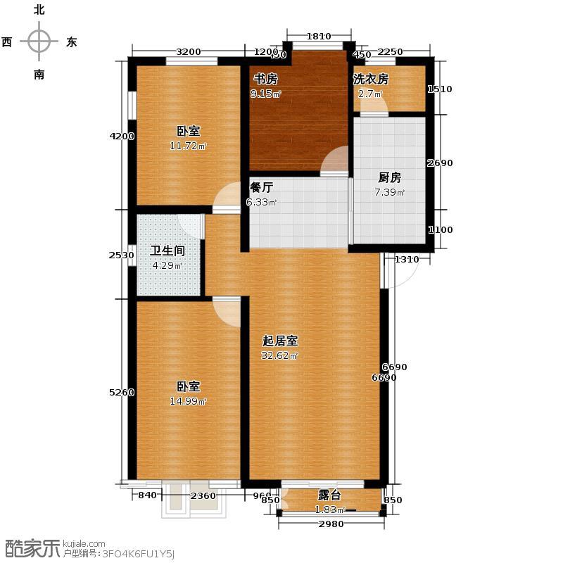 大学时光114.00㎡J户型3室2厅1卫