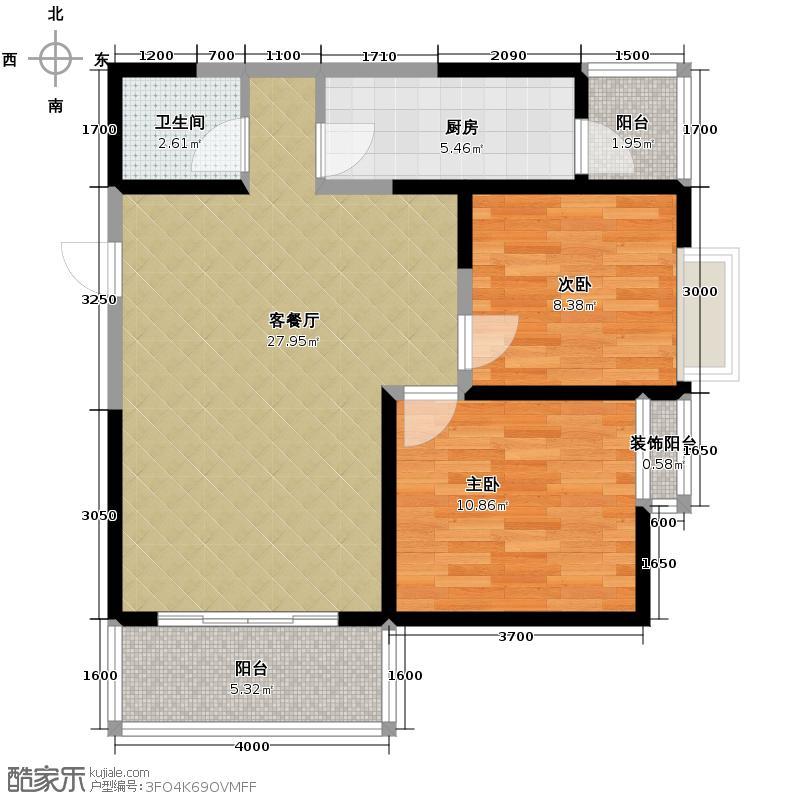 翡丽城92.27㎡户型2室2厅1卫