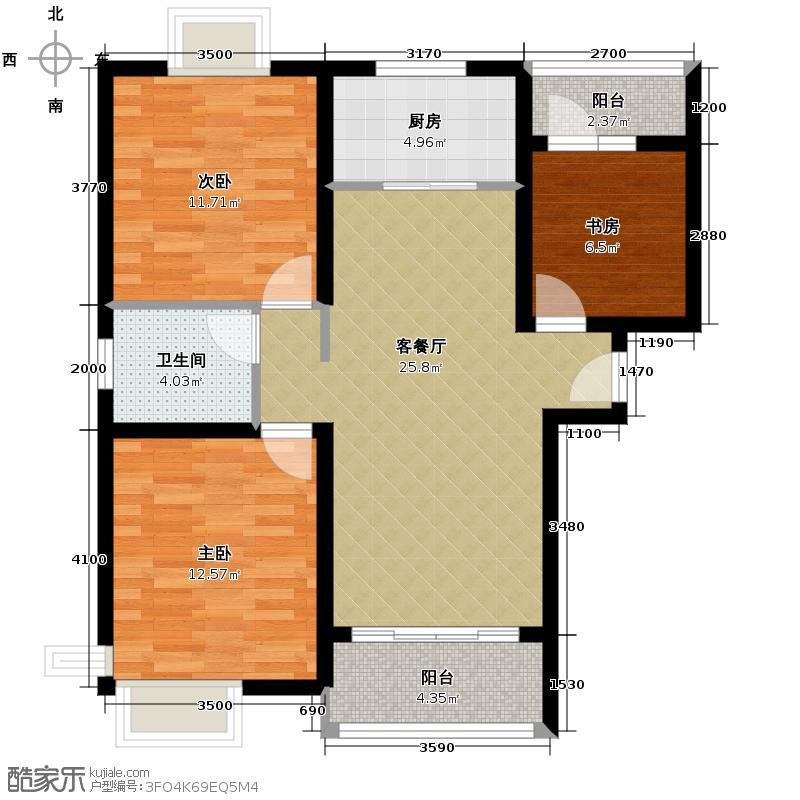 保利百合花园83.38㎡(二期)7A户型3室1厅1卫1厨