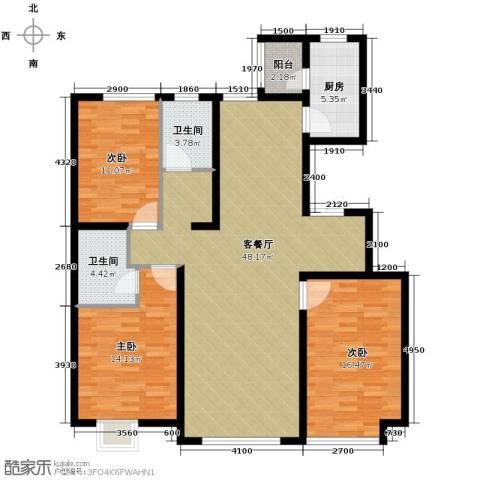 亿利傲东国际3室2厅2卫0厨144.00㎡户型图