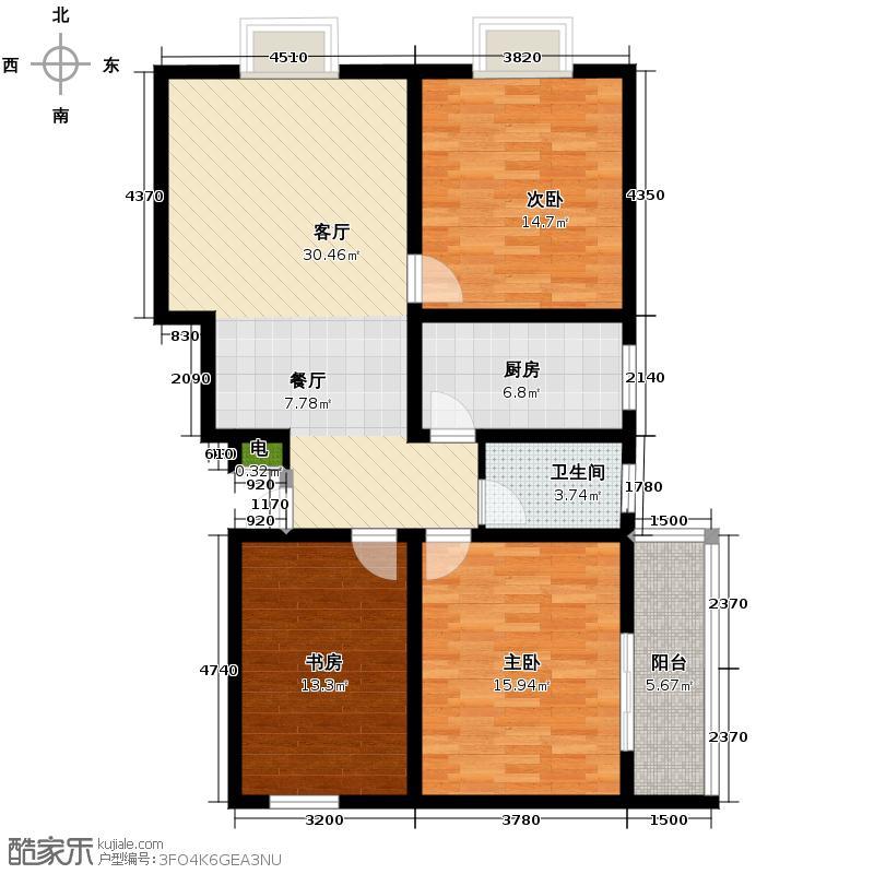 三泰茗居119.71㎡C户型3室2厅1卫