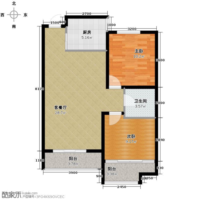 凯景花园89.06㎡经典空间户型10室