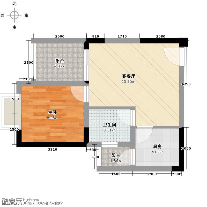 芸峰天梭派40.25㎡B1标准层2号房户型1室1厅1卫1厨