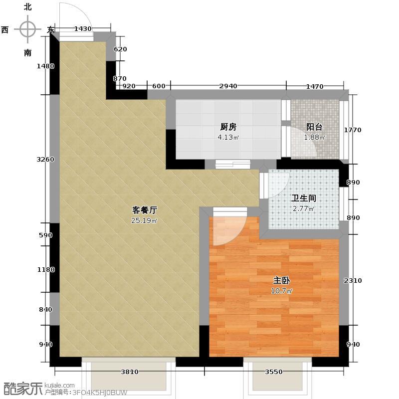 润芝园66.97㎡1号楼A4户型1室2厅1卫
