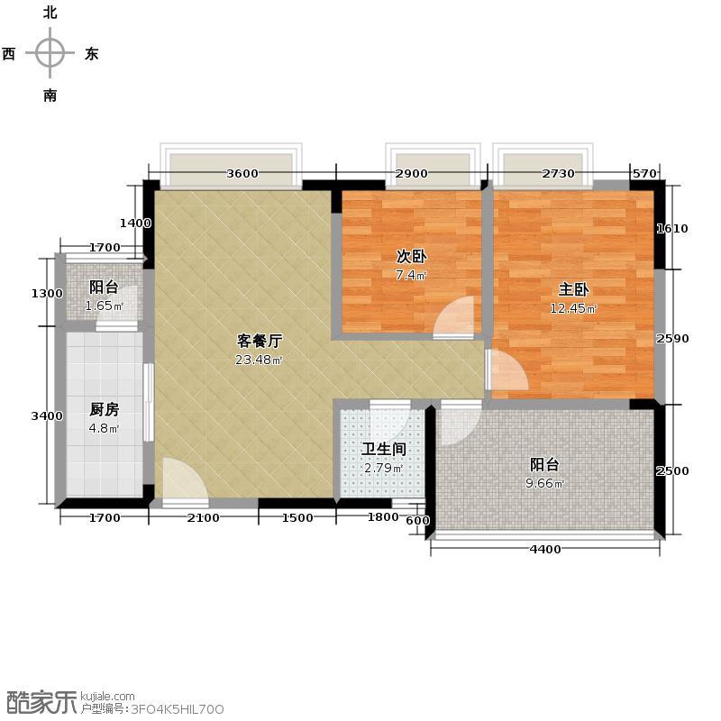 华宇楠苑75.75㎡2栋2-10层A5户型2室1厅1卫1厨