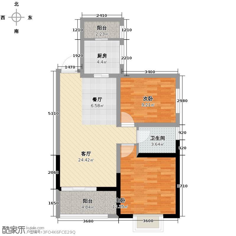御锦城82.00㎡10、12号楼A3户型2室2厅1卫