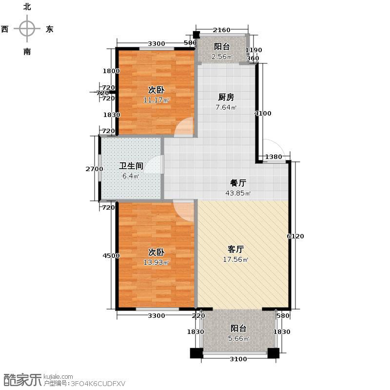 上院92.64㎡25D户型2室2厅1卫