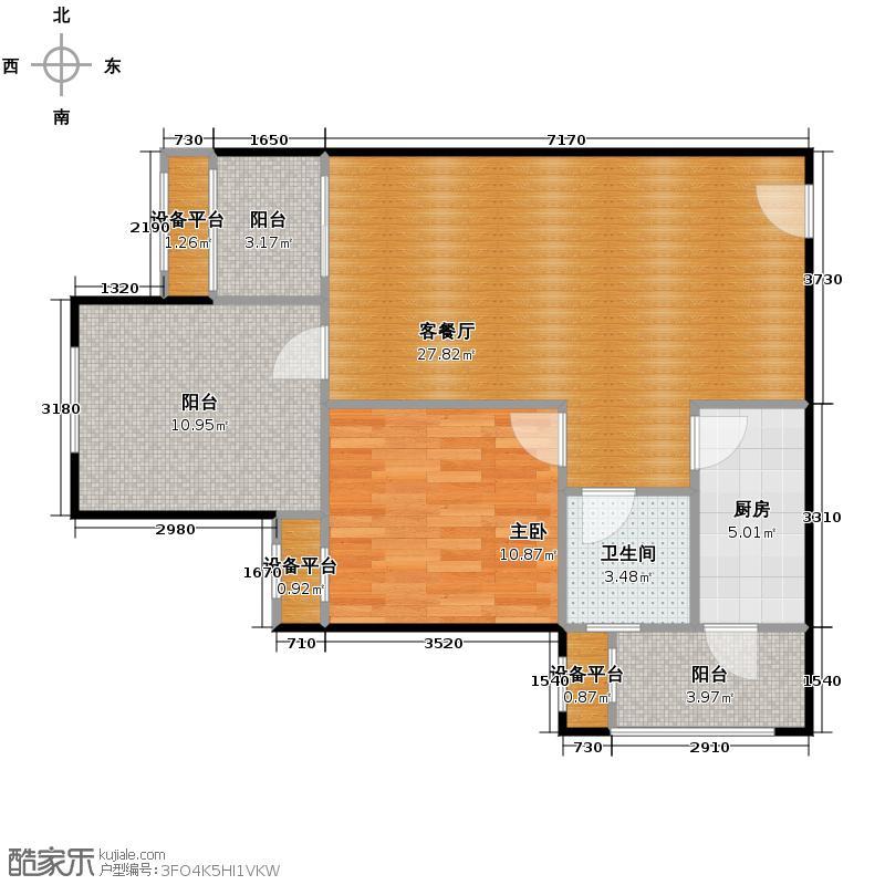 金科廊桥水乡56.00㎡二期1、4、5号楼标准层A1户型1室2厅2卫