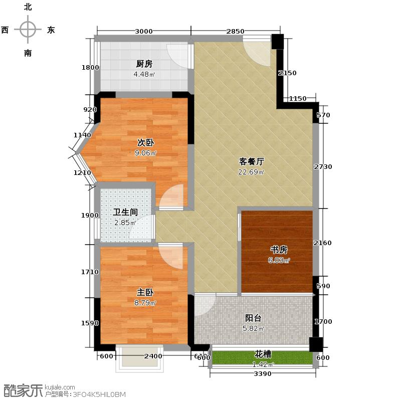 雷迪波尔城市花园73.00㎡一期1、2、3号楼B户型3室1厅1卫1厨