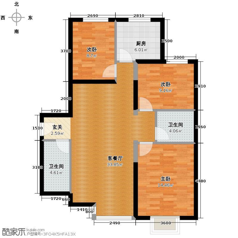 星河185120.26㎡A楼C2户型3室1厅2卫1厨