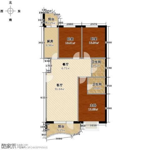 山海同湾3室2厅2卫0厨125.00㎡户型图