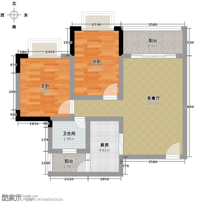 水木香榭56.65㎡1期标准层12号D户型2室1厅1卫1厨
