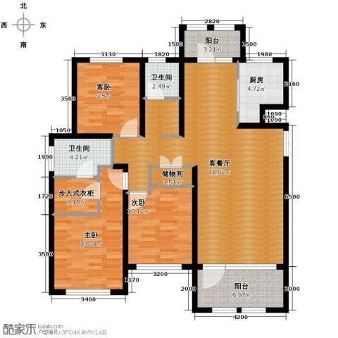 群力玫瑰湾3室1厅2卫1厨99.98㎡户型图