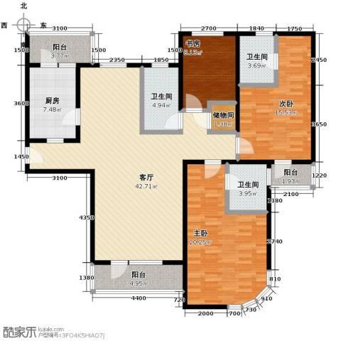 仁恒海河广场3室2厅2卫0厨169.00㎡户型图