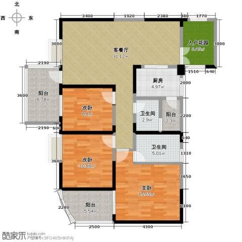 红树湾3室2厅2卫0厨115.00㎡户型图