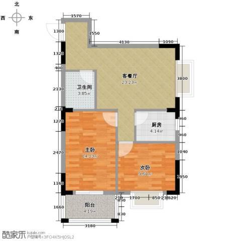 福地华庭2室1厅1卫1厨66.75㎡户型图